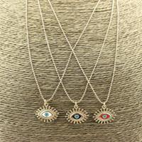 Wholesale eye shaped necklace resale online - 25inch str New design cz enamel pendant necklace fashion eye shape pendant necklace colorful enamel charm necklace