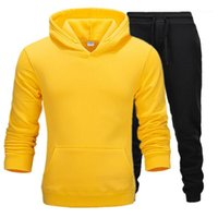 Wholesale couples clothing set resale online - Fashion Thick Loose Male Clothing Solid Color Designer Mens Tracksuits Winter Long Sleeve Hooded Couples Sets