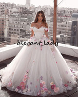 Wholesale gowns wedding resale online - Luxury Ball Gown Wedding Dresses Sweetheart Off Shoulder Pink Flower Bridal Gown Backless Sweep Train Bride Dress Plus Size