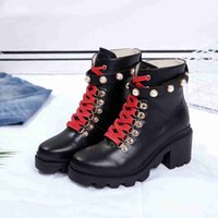 Wholesale size 35 thigh boots for sale - Group buy New Arriver Pearl studded Martin Boots Fashion Woman Ankle Booties Designer Black Non slip Flat Ankle Booties Size Colors