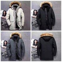 Wholesale long goose down jacket resale online - Men Big Fur Collar Long Down Coat Thick Warm Male Designer Winter Coats Hooded Goose Outerwear Down Jacket Expedition Outlet Overcoat