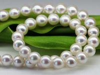 ingrosso madreperla del giappone-SPEDIZIONE GRATUITA + Giappone Akoya naturale collana di perle di acqua di mare importata luce specchio di vetro rotondo 8-8.5 MM madre REGALO