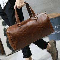 Wholesale vintage suitcase leather resale online - LAPOE Men Vintage Retro Leather Travel Bags Hand Luggage Overnight Bag Fashionable Designers Large Duffle Bags Weekend Bag