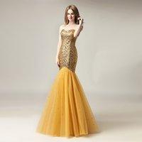vestido formal e brilhante venda por atacado-2020 Partido Formal baratos Sparkly Mermaid Wear Sexy Prom Vestidos com lantejoulas de ouro até o chão Plus Size