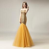 robes de soirée scintillantes achat en gros de-2020 pas cher scintillant sirène formelle partie portent des robes de soirée de bal sexy paillettes longueur de plancher d'or, plus la taille