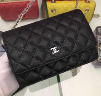 bolsas pretas agradáveis venda por atacado-33814 único ombro alta qualidade agradável couro genuíno cadeia de metal preto saco de mulher marca de luxo bolsa