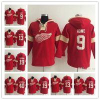 eski zaman hokeyi hoodies sweatshirt toptan satış-Detroit Red Wings Hoodie Pavel Datsyuk 19 Steve Yzerman 9 Gordie 40 Henrik Zetterber Howe Old Time Hokeyi Jersey Kapşonlu Sweatshirt stiched