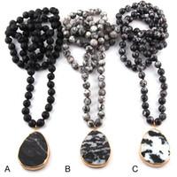 kolye modası kabile toptan satış-Ücretsiz Kargo Moda Bohemian Tribal Takı Yarı Değerli Taşlar Uzun Düğümlü Siyah Damla Kolye Kolye
