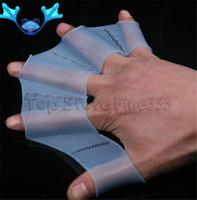 nadadeiras de mão natação venda por atacado-Unisex tipo de sapo cintas de silicone 1 par de barbatanas de mão de natação aletas dedo palma luvas webbed remo esportes aquáticos
