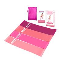 equipo de gimnasia rosa al por mayor-Bandas de resistencia de color rosa Set Entrenamiento Fitness Banda de goma Equipo de gimnasio Bucles de goma Látex Yoga Gimnasio Entrenamiento de fuerza Bandas atléticas