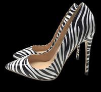 zebra brautkleider großhandel-Klassische neue mode frauen pumpt sexy zebra striped damenschuhe spitzen high heel stiletto schuhe 120mm 10cm 8cm ferse hochzeit kleid schuhe