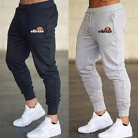 calças de ganga masculinas venda por atacado-Ellesse Mens Esportes Cordão Elástico Sweatpants Preto Branco Cinza Casual Hip Hop Basculador Calças Pantalon Homme S-XXXL