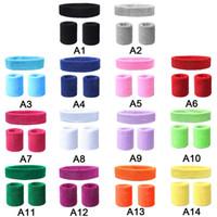 kaymaz bant toptan satış-Kaymaz Elastik Ter Bandı Bilek Desteği Bandı ile Kafa Hairband Spor Run Futbol Tenis Başörtüsü Seçim için 14 Renk