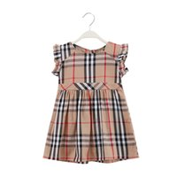 Wholesale trimmer for girls resale online - Plaid Cotton Girls Dresses With Ruffle Trim Design Girls Princess Dress Shift Skirt And Plady Dress For Sunny Summer Days