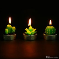 Wholesale scented colored candles resale online - Cactus Scented Candles Mini Artificial Plants Home Interior Scent Candles Romantic Green Candle for Wedding Party Birthday Christmas Decora