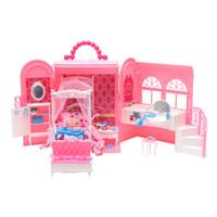 ingrosso set di giocattoli barbie-Plastica fai-da-te in camera da letto Carry-A-Home Set da gioco per Barbie Doll Girls Play House Giocattolo Kids Pretend Gioca Toys Girls Gifts