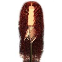 peluca rizada completa roja al por mayor-Peluca delantera del cordón de Borgoña Pelucas llenas del cordón del color del cordón del color Peluca de pelo roja rizada preplochada para las mujeres Remy brasileño