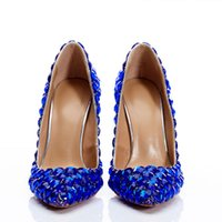 zapatos de fiesta de novia azul al por mayor-Diseñador Rhinestones zapatos de mujer de tacón alto Sexy rojo Balck Royal Blue boda nupcial zapatos 2019 Summer Prom Party Wear