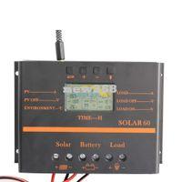 regulador solar del cargador 12v al por mayor-Freeshipping 60A Controlador de panel solar - usb Cargador de salida de teléfono móvil 5V Cómodo para uso en interiores 12v 24V panel solar regulador de voltaje