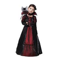 cosplay meninas vampiro trajes venda por atacado-Crianças Meninas Vampiro Gótico Trajes de Halloween para Crianças Princesa Traje Cosplay Longo Vestidos de Festa de Carnaval Vampiro Cosplay