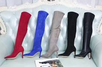Wholesale gray buckle boots for sale - Group buy free delivery U757 colors of leather elastic tip thigh high boots on the knees sexy blue red black gray fashion ladies boots