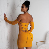 gece elbisesi markaları toptan satış-Maikun Yeni Marka Seksi Kayış Elbise Gece Kulübü Uzun kollu Sırt Çantası Kalça Etek Kadınlar için 4 Boyutları