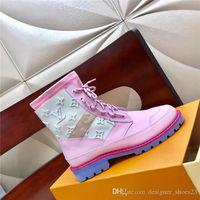 çizme astarı toptan satış-Kadın Kış Ayak Bileği Çizmeler Dana Derisi Deri ile, Frontrow Sneaker Boot Düz CREEPER HATTI Martin Patik Kutusu ile Pembe Blck Mavi Boyutu 35-41