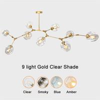 avizeler avizeleri toptan satış-Küre cam kolye lamba Modern Avize Işık için mutfak / cafe / bez dükkanı 3/5/6/7/8/9 kafaları led kolye ışıkları