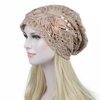 Wholesale butterfly knitted hat resale online - Turban Hats For Women Lace Slouchy Beanie Cap Winter Knitted Skullies Caps Fashion Flower Female Stylish Butterfly Beanies Hat K04