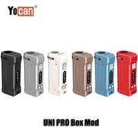 pantalla de voltaje al por mayor-100% original Yocan UNI PRO Box Mod 650mAh Precalentar VV voltaje variable OLED de batería para 510 Grueso Cartuchos de aceite atomizador Auténtico