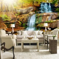 Wholesale stone wallpaper for sale - Group buy Custom Photo Wall Paper D Large Waterfall Stone Wall Painting Living Room Bedroom TV Backdrop Non woven Straw Wallpaper Mural