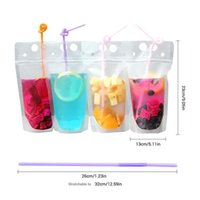 Wholesale bag for liquid for sale – best Hot Clear Drink Pouches Bags Zipper Stand up Plastic Drinking Bag with straw with holder Reclosable Heat Proof for Beverage Liquid DHD243