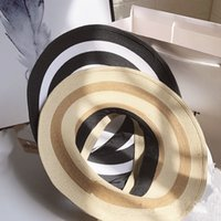 Wholesale wide brim black hat women for sale - Group buy Women Sraw Sun Visor Hats Creative Empty Top Wide Brim Ponytail Hat Summer Beach Travel Bow Striped Hat LJJT723
