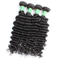ingrosso bundle dei capelli in linea-8A Capelli Umani Indiani Onda Profonda 8-28 pollici Colore Naturale Brasiliano Deep Wave Bundles Remy Hair Extension Online Cheap