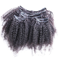 Wholesale blonde afro curly hair resale online - 8pcs set Afro Kinky Curly Wave Human Hair Clip In Hair Extensions quot quot Natural Color g Set Clip In Human Hair Extensions