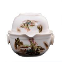 ingrosso porcellana facile-Set da tè da viaggio di alta qualità Include 1 tazza di 1 tazza, buon prodotto di porcellana Kung Fu Teaset, bollitore di alta qualità elegante teiera di gaiwan di alta qualità