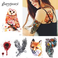 2ffe3b78d glaryyears 16 Designs 1 Sheet Watercolor Animal Body Temporary Tattoo  Sticker Pink Tiger Owl Image Decal Water Transfer Body Art