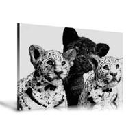 arte nude preto branco venda por atacado-HD Impresso Animais Pintura A Óleo Decoração de Casa Arte Da Parede em Lona Leopardos Cubs 24x32 polegada Sem Moldura