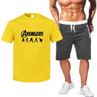ingrosso tuta da tuta da uomo-Avengers4 Endgame brevi magliette da uomo Tute MARVEL Stampa Mens Shorts Sport Suits estate del ragazzo allenamento fitness