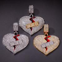 подвески для сердца оптовых-Новые Мужские Хип-Хоп Ожерелье Iced Out Heart Ожерелье Мода Разбитое Сердце Бинты Ожерелье Ювелирные Изделия