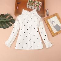 schulhemd weiße bluse großhandel-2019 Herbst-Kind-Kleidung-Kinder Kleidung Mode Dot School Girl Weiße Bluse Cotton Kind Shirt Mädchen Tops und Blusen Blusas