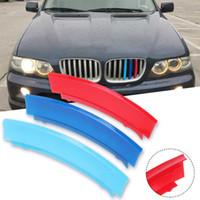 решетка радиатора оптовых-7Bar 3D Наклейка Передняя Панель Гриль Почки Решетка Отделка Спортивные Полосы Зажим Крышка Аксессуары для укладки Автомобиля Для BMW X5 E53 2000-2006