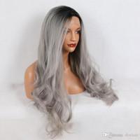 mano ondulada atada pelucas al por mayor-Ombre Grey Wigs Half Hand Tied Long Root Dark Root Gray Fibra resistente al calor Sintético Ombre Grey Lace Front peluca para las mujeres negras