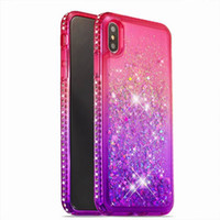 ingrosso bling lg-Luxury Designer Dynamic Liquid Glitter Quicksand Tpu Custodia per IPhone X XS MAX XR 10 8 7 6 6s Plus I Telefono X Bling Glitter Cases