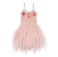 платье с цветочками из перьев оптовых-Цветы девушки театрализованное платье дети перо кружева тюль подтяжк принцесса платье дети стерео цветок день рождения платья бальное платье F3929