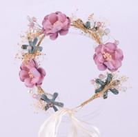ingrosso fotografie del fiore della sposa-Nuovo sen femminile fatto a mano ghirlanda di fiori di garofano accessori per capelli moda copricapo