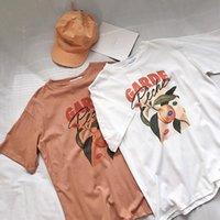 ingrosso fidanzato camicie donne-Camicia a maniche corte a maniche corte bianca con stampa arancione t-shirt donna Y19051301