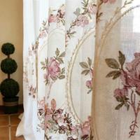ingrosso tende bianche fiori rosa-Tenda a fiori rosa ricamata bianca elegante elegante tulle voile mantovana per soggiorno tende balcone porta camera da letto