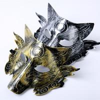 maskeli parti süslemeleri toptan satış-Kalın Kurt Maske Parti Cadılar Bayramı Masquerade Maskeleri Korku Kostüm Kurtlar Topu Bar Dekorasyon Yetişkin Çocuk HH9-2401