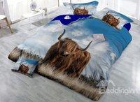 juegos de cama de impresión animal marrón al por mayor-Conjuntos de ropa de cama de algodón de 4 piezas con diseño de algodón de 4 piezas / funda nórdica de Yak marrón 3D